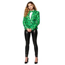 Masque adulte latex intégral clown sanglant avec cheveux et chapeau démon sans bouche